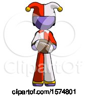 Poster, Art Print Of Purple Jester Joker Man Giving Football To You
