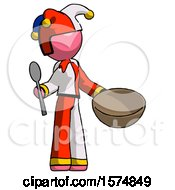 Pink Jester Joker Man With Empty Bowl And Spoon Ready To Make Something