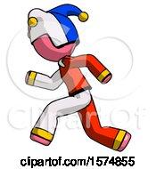 Poster, Art Print Of Pink Jester Joker Man Running Fast Left