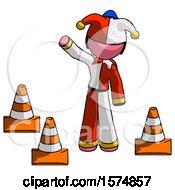 Pink Jester Joker Man Standing By Traffic Cones Waving