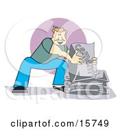 Strong Man Using His Knees And Lifting Bags Of Cement Clipart Illustration