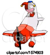 Pink Jester Joker Man In Geebee Stunt Plane Descending Front Angle View