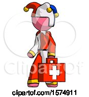 Pink Jester Joker Man Walking With Medical Aid Briefcase To Left