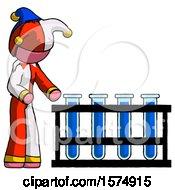 Pink Jester Joker Man Using Test Tubes Or Vials On Rack