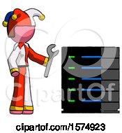 Pink Jester Joker Man Server Administrator Doing Repairs