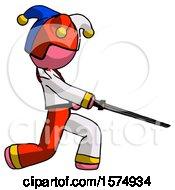 Pink Jester Joker Man With Ninja Sword Katana Slicing Or Striking Something