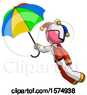 Pink Jester Joker Man Flying With Rainbow Colored Umbrella