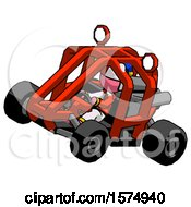 Pink Jester Joker Man Riding Sports Buggy Side Top Angle View