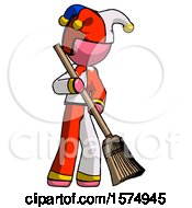 Pink Jester Joker Man Sweeping Area With Broom