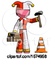 Pink Jester Joker Man Under Construction Concept Traffic Cone And Tools