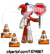 Pink Jester Joker Man Holding Stop Sign By Traffic Cones Under Construction Concept