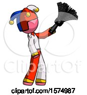 Pink Jester Joker Man Dusting With Feather Duster Upwards