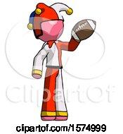 Poster, Art Print Of Pink Jester Joker Man Holding Football Up