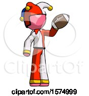 Pink Jester Joker Man Holding Football Up