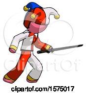 Pink Jester Joker Man Stabbing With Ninja Sword Katana