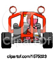 Pink Jester Joker Man Riding Sports Buggy Front View