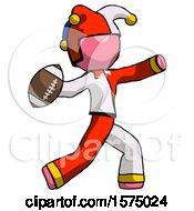 Poster, Art Print Of Pink Jester Joker Man Throwing Football