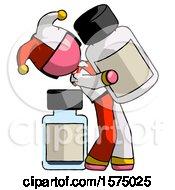 Pink Jester Joker Man Holding Large White Medicine Bottle With Bottle In Background