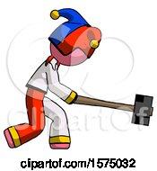 Pink Jester Joker Man Hitting With Sledgehammer Or Smashing Something