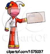Pink Jester Joker Man Holding Large Envelope