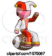 Poster, Art Print Of Pink Jester Joker Man Sitting On Giant Football