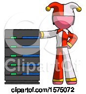 Pink Jester Joker Man With Server Rack Leaning Confidently Against It