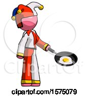 Poster, Art Print Of Pink Jester Joker Man Frying Egg In Pan Or Wok Facing Right