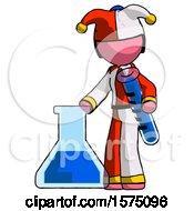 Pink Jester Joker Man Holding Test Tube Beside Beaker Or Flask