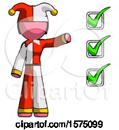 Pink Jester Joker Man Standing By List Of Checkmarks