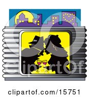 Romantic Couple Kissing And Drinking Wine In A Window Clipart Illustration
