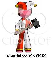 Pink Jester Joker Man With Sledgehammer Standing Ready To Work Or Defend