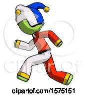 Poster, Art Print Of Green Jester Joker Man Running Fast Left