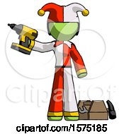 Green Jester Joker Man Holding Drill Ready To Work Toolchest And Tools To Right