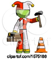 Green Jester Joker Man Under Construction Concept Traffic Cone And Tools
