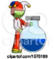 Green Jester Joker Man Standing Beside Large Round Flask Or Beaker