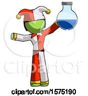 Green Jester Joker Man Holding Large Round Flask Or Beaker