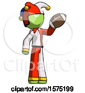 Green Jester Joker Man Holding Football Up