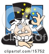Friendly Male Magician With A Monacle Over His Eye Using A Magic Wand Clipart Illustration
