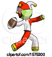 Poster, Art Print Of Green Jester Joker Man Throwing Football