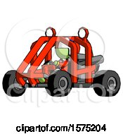 Green Jester Joker Man Riding Sports Buggy Side Angle View