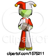 Poster, Art Print Of Green Jester Joker Man Giving Football To You