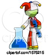 Green Jester Joker Man Holding Test Tube Beside Beaker Or Flask