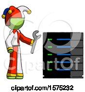 Green Jester Joker Man Server Administrator Doing Repairs
