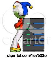 Green Jester Joker Man Resting Against Server Rack