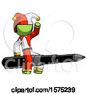 Green Jester Joker Man Riding A Pen Like A Giant Rocket