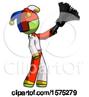 Green Jester Joker Man Dusting With Feather Duster Upwards