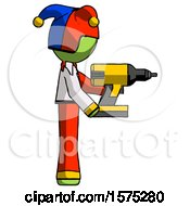Green Jester Joker Man Using Drill Drilling Something On Right Side