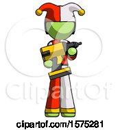 Green Jester Joker Man Holding Large Drill