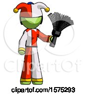 Green Jester Joker Man Holding Feather Duster Facing Forward