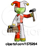 Green Jester Joker Man Holding Tools And Toolchest Ready To Work
